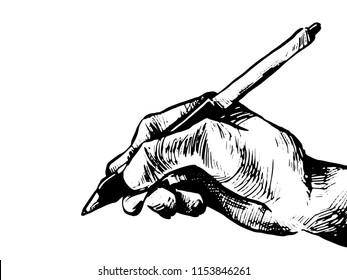 Hand Holding Wacom Pen Vector