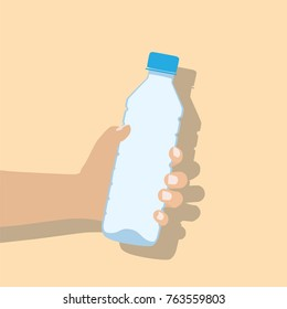 Hand holding water bottle, vector illustration design. Hands collection.