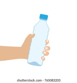 Hand holding a water bottle, vector illustration design. Hands collection.