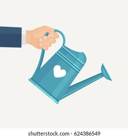 Hand holding a watering can isolated on background. Gardening tools, agriculture, planting concept. Vector illustration. Flat style design.