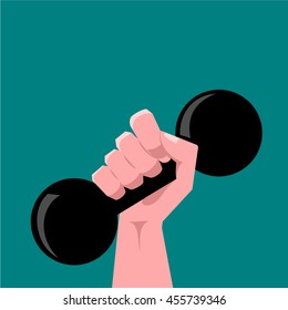 Hand holding weight vector.