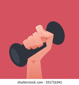 Hand holding weights illustration
