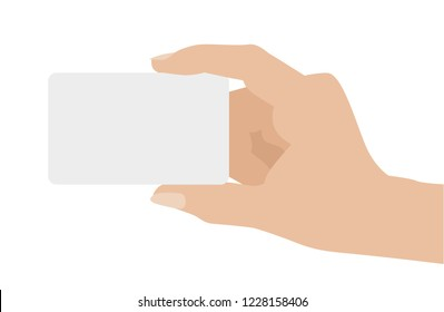 Hand holding white card, isolated on white background. Flat design vector illustration