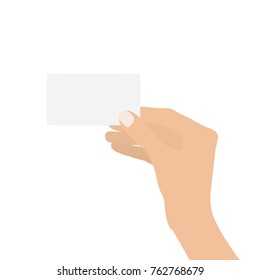 Hand holding a white card, vector illustration design. Hands collection.