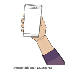 Hand holding white cellphone with white screen. Cartoon pop art retro vector illustration drawing in comic book style.