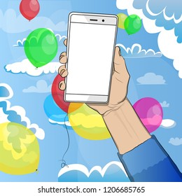 Hand holding white cellphone with white screen with cloudes and balloons on the background. Cartoon pop art retro vector illustration drawing in comic book style.