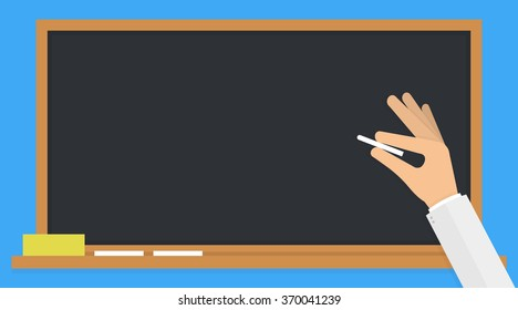 Hand holding a white chalk in front of a classic black blank school board or blackboard. Flat design