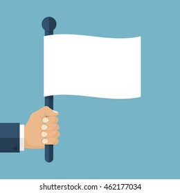 Hand holding a white flag. Vector illustration of a flat design. Symbol give up.  Surrendering concept. Message truce.