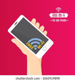 Hand holding white smart phone with free wi-fi sign on touch screen isolated on pink background. Vector flat style design phone with screen and human hand. Free wi-fi concept illustration