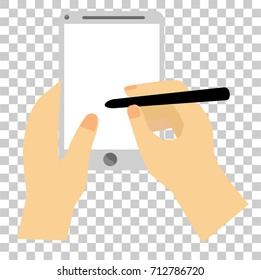 Hand - Holding White Smartphone - Writing with Stylus, at Transparent Effect Background