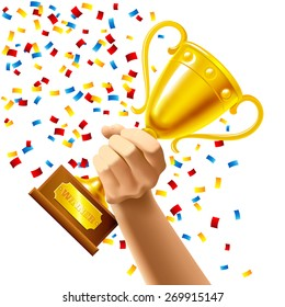 Hand holding a winner trophy cup in multi colored confetti concept vector illustration