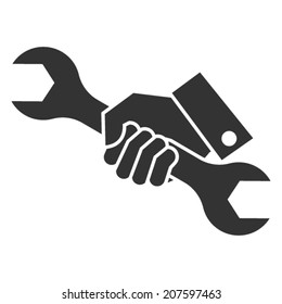 hand holding a wrench icon. Vector illustration