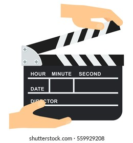 Hand holds black open clapperboard. Movie clapper board. Movie logo. Flat vector cartoon illustration.
