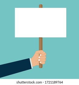 hand holds blank placard protest sign vector banner