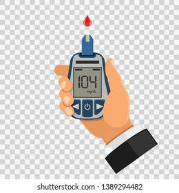 hand holds blood glucose meter. blood sugar level testing, treatment, monitoring and diagnosis of diabetes concept. icon in flat style. isolated vector illustration on transparent background