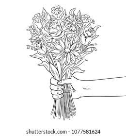 Hand holds bouquet of flowers coloring vector illustration. Isolated image on white background. Comic book style imitation.