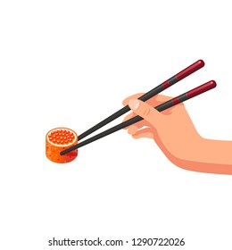 Hand holds chopsticks with sushi. Isolated on white background. Modern flat style vector illustration.