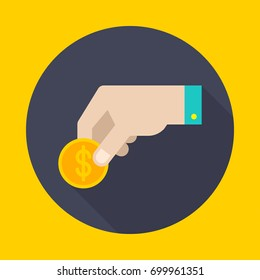 Hand holds a coin. Icon flat style vector illustration.