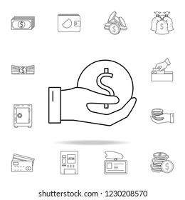 hand holds a coin icon. Outline set of banking icons. Premium quality graphic design icon. One of the collection icons for websites, web design, mobile app
