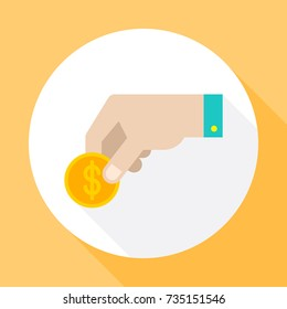 Hand holds a coin.  Icon vector with long shadow. Flat design style.