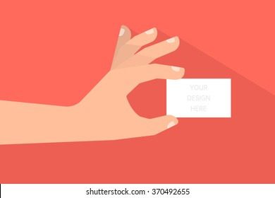 Hand holds a empty business or credit card. Business concept. Template for your design. Isolated vector illustration flat design.