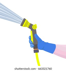 Hand holds the garden watering hose with water spray gun. Vector illustration