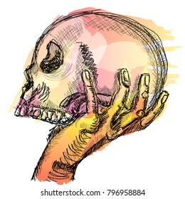 The hand holds the human skull. Vector clipart sketch with grunge strokes.