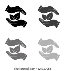 hand holds leaves  - black vector icon