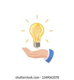 The hand holds a light bulb. The electric light is on. Energy saving. Sale of light bulbs. Suggest an idea. Color icon, banner. Vector images
