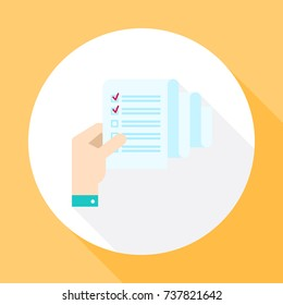 The hand holds a long list of cases. to-do. Icon vector with long shadow. Flat design style.
