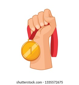 The hand holds the medal. Vector illustration.