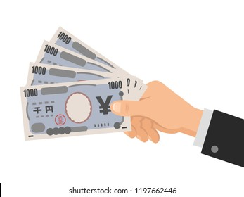 Hand holds money japanese yen 1000 banknotes. Business concept. Isolated on white background. Flat style. Vector illustration.