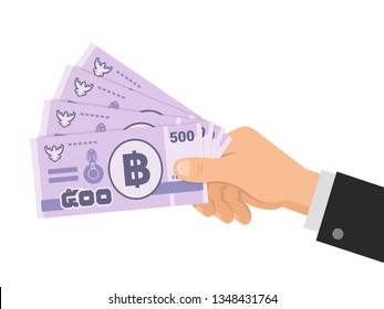 Hand holds money thai baht 500 banknotes. Five hundred THB. Business concept. Isolated on white background. Flat style. Vector illustration.