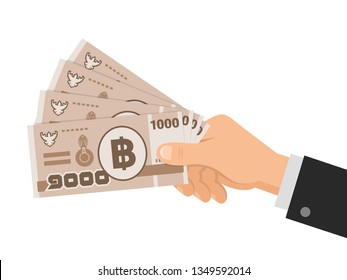 Hand holds money thai baht 1000 banknotes. One thousand THB. Business concept. Isolated on white background. Flat style. Vector illustration.