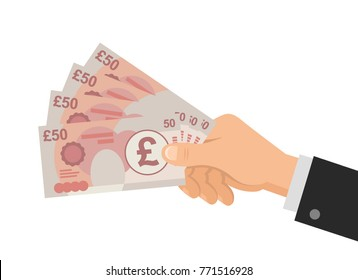 Hand holds money UK Pounds 50 banknotes. Business concept. Isolated on white background. Flat Style. Vector illustration.