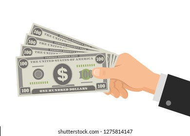 Hand holds money US dollars 100 banknotes. Business concept. Isolated on white background. Flat Style. Vector illustration.