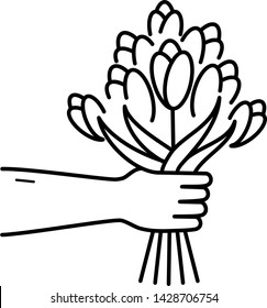 Hand holds out a bouquet of flowers. Icon in outline style