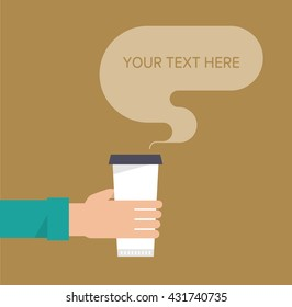 Hand holds a paper cup of hot drink. Coffee take away concept. Template for your text. Isolated vector illustration flat design.