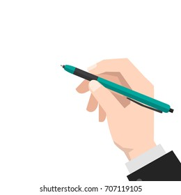 hand holds the pen