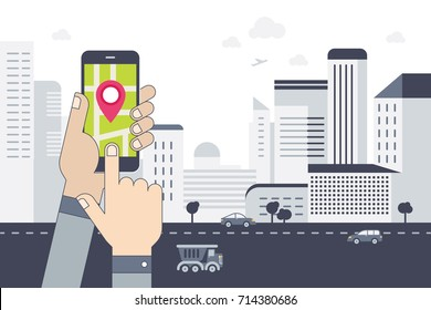 Hand holds phone with city map gps navigator on smartphone screen.Tracking system. Urban landscape. Flat design vector.