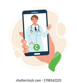 Hand holds a phone with a doctor's contact. Online consultation doctor concept. Safety home and quarantine concept. Medical diagnostics over the Internet. Vector illustration in flat style.
