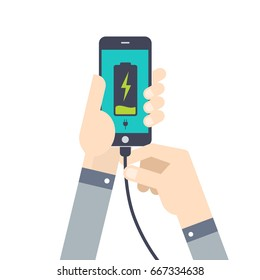Hand holds a phone with a low battery charge. Mobile phone with USB connection.  Flat style vector illustration