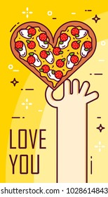Hand holds a pizza in the shape of heart. Vector banner for fast food. Thin line flat design.