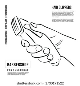 Hand holds a professional hair clipper. Icon for hairdressers. Drawing for barber shops.