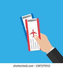 hand holds red and blue airline tickets. flat style .stock vector illustration. 10 eps