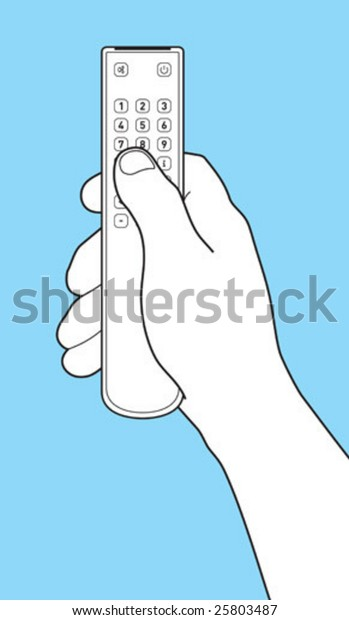 The hand holds Remote control TV. Separately images of a hand and remote control TV