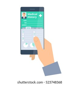 Hand holds a smart phone with medical history on the screen. Vector flat illustration of smartphone and Patient Health history electronic document. Modern medical digital technology concept.