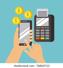 hand holds smartphone dataphone payment online