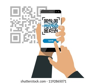 Hand holds a smartphone and push a button for scanning qr code and saving information isolated on white background. Vector illustration.