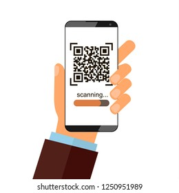Hand holds a smartphone and push a button for scanning qr code and saving information. Vector illustration isolated on white background